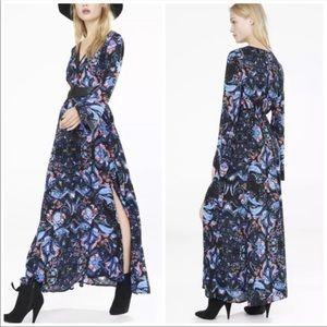 Express Paisley deep v long sleeve maxi dress